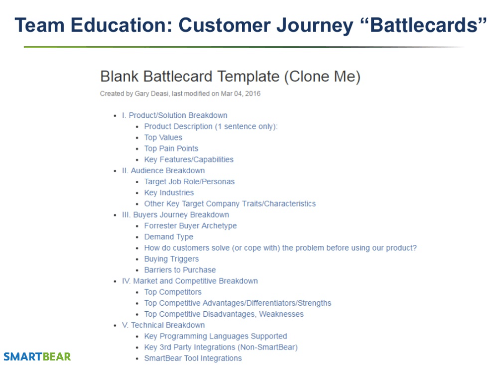 Customer Journey Battlecard Template